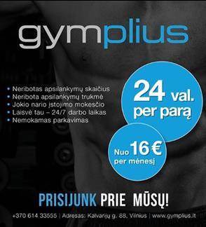 """""""GymPlius"""" – tai pirmasis ir vienintelis sporto klubas Lietuvoje, veikiantis 24/7, be jokių laiko apribojimų"""