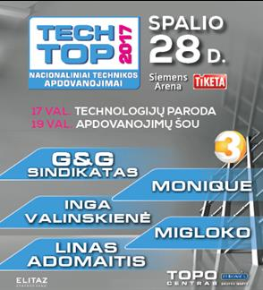 """Nacionaliniai technikos apdovanojimai """"Tech Top 2017"""""""