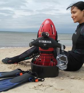 Pramoga Baltijos jūroje su Yamaha sea scooter